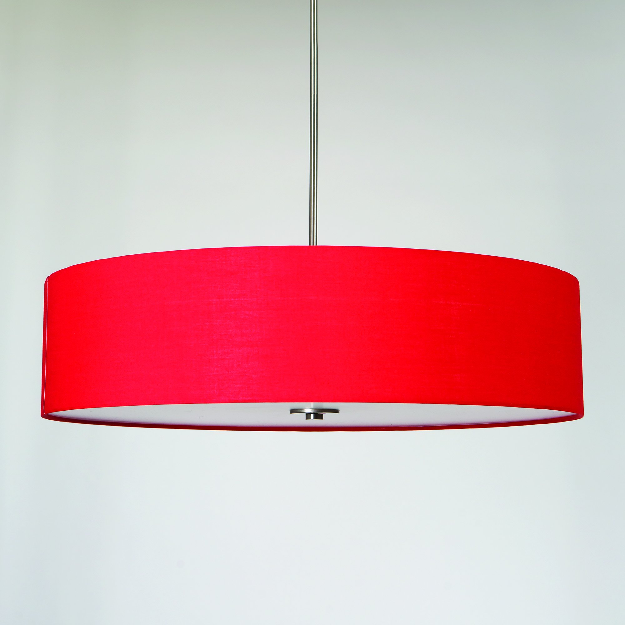 Yosemite Home Decor SH3007-5P-CPRS Lyell Forks Family 5-Light Satin Steel Pendant with Chili Pepper Red Drum Shade, Red by Yosemite Home Decor