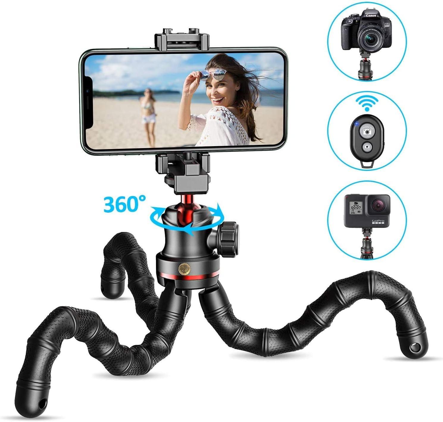 Galaxy S20 usw Kompatibel mit iPhone 11 Pro Max//XR//X Tragbar Kamera Stativ Dreibein f/ür Camera /& Gopro Cocoda Handy Stativ Flexibel Selfie Stick f/ür Smartphone Bluetooth Tripod mit Fernausl/öser