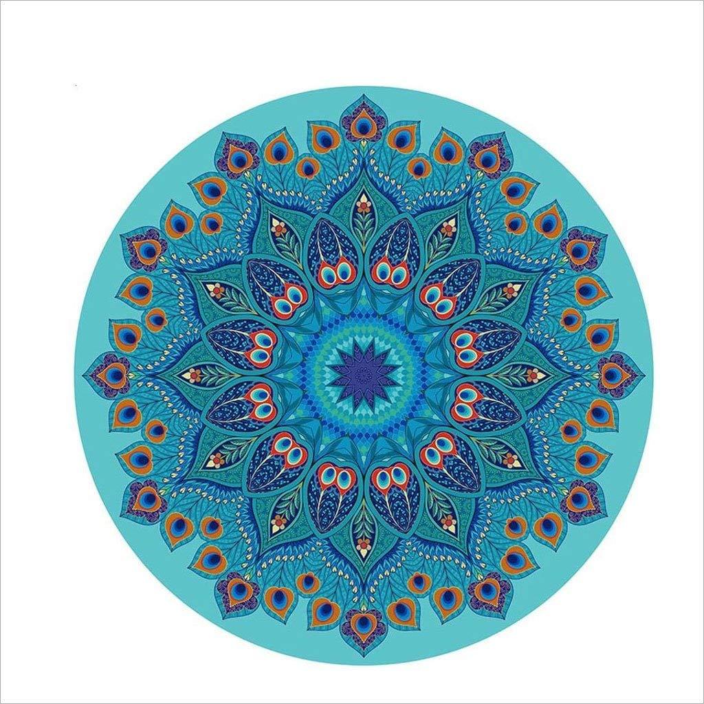 FORTR Home Naturkautschuk Schweißabsorbierend 140 × 140cm Rundes Pfauenfeder-Muster Yogamatte Rutschfeste Blaue Yogamatte Yogamatte Pfauenfeder-Muster 859c7f