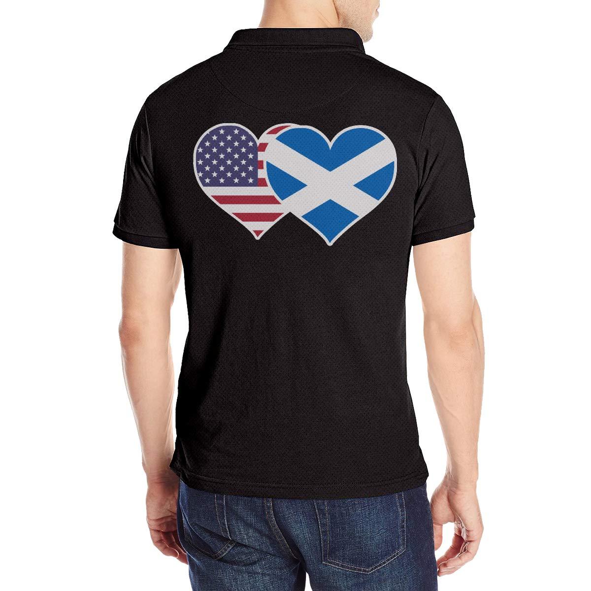 American Scotland Flag Heart Mens Short Sleeve Polo Shirt Classic-Fit Blouse Sport Tee