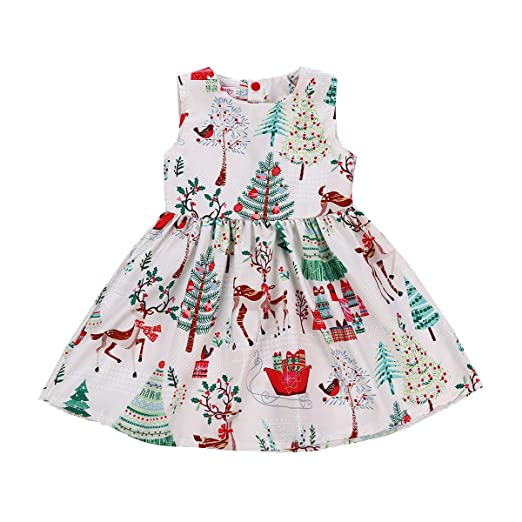 0f9bd1986ab5 GRNSHTS Baby Girls Christmas Dresses Clothes Floral Deer Sleeveless Outfits  (White, 80/1