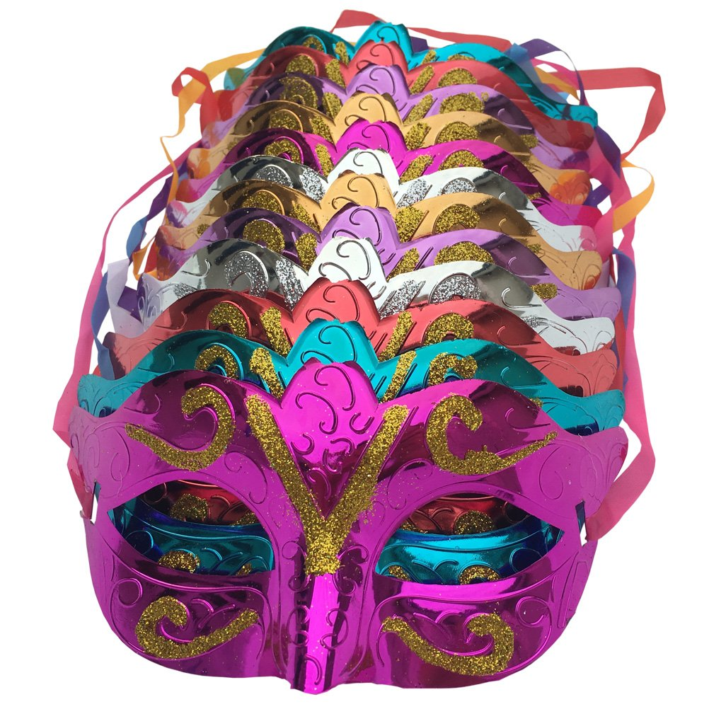 Arlai Pack of 12, Gold shining plated party mask wedding props masquerade mardi gras mask