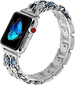 Stainless Steel Band Compatible with Apple Watch Band 38mm 40mm 42mm 44mm Women Iwatch Series 6 5 4 3 2 1, Dressy Metal Adjustable Wristband, 38mm 40mm Silver+Blue