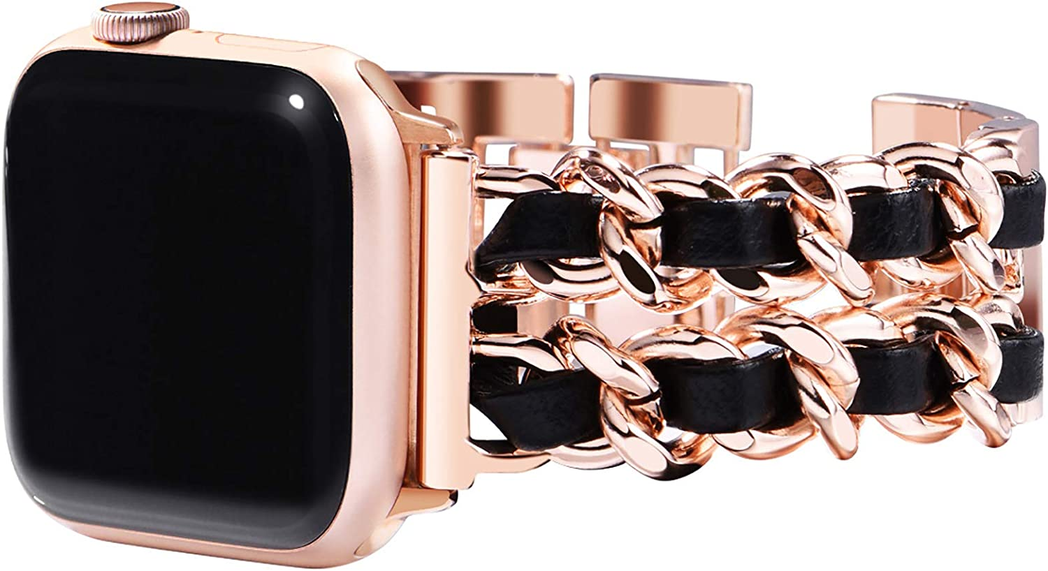 Surace Compatible with Apple Watch Series 6 Bands Women Bracelet Replacement for Apple Watch Series 5 Series 4 40mm 38mm Compatible with Apple Watch SE, Rose Gold Link with Black Leather