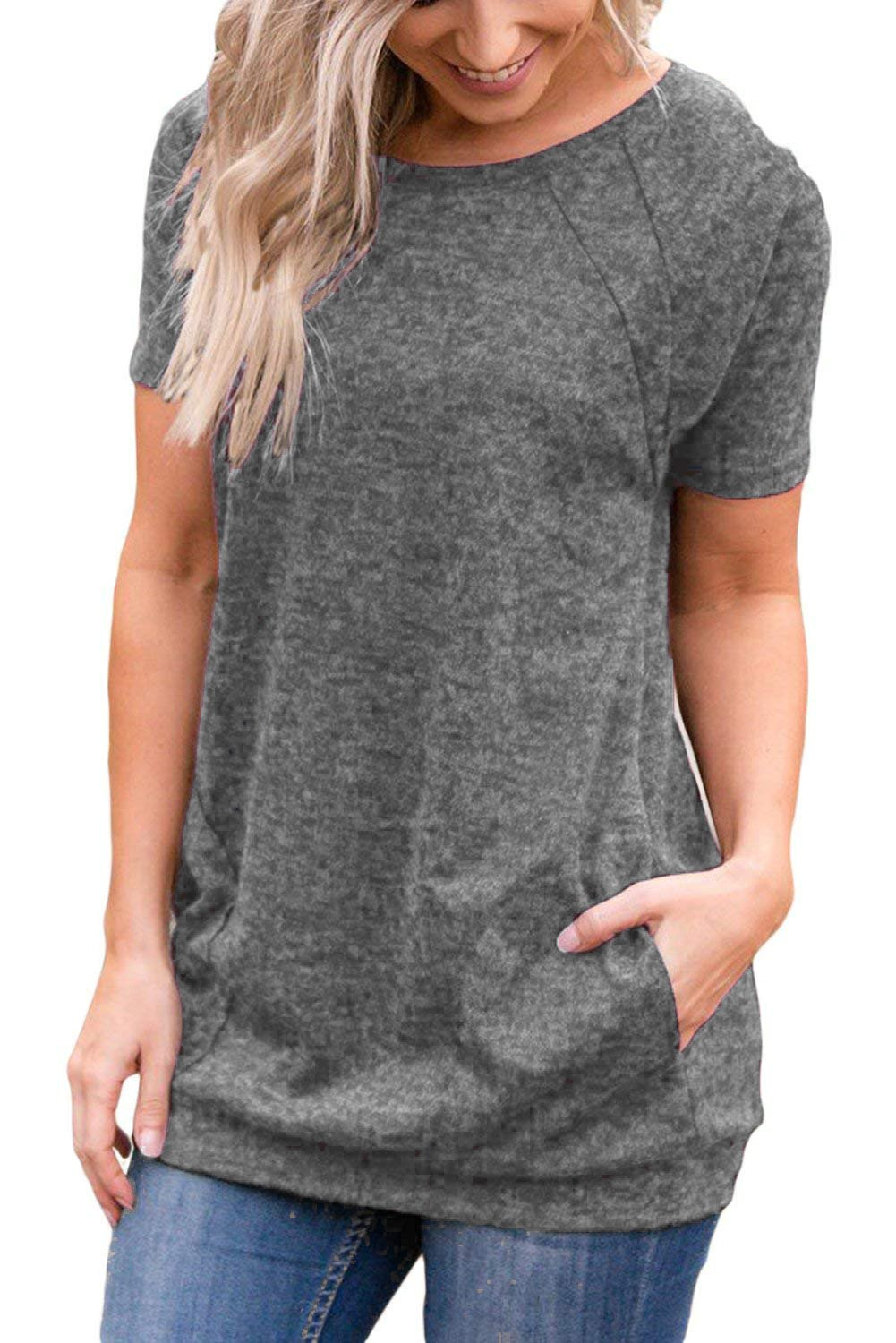 Uniboutique Womens Short Sleeve Round Neck Tunic T Shirts Tops with Pockets Grey