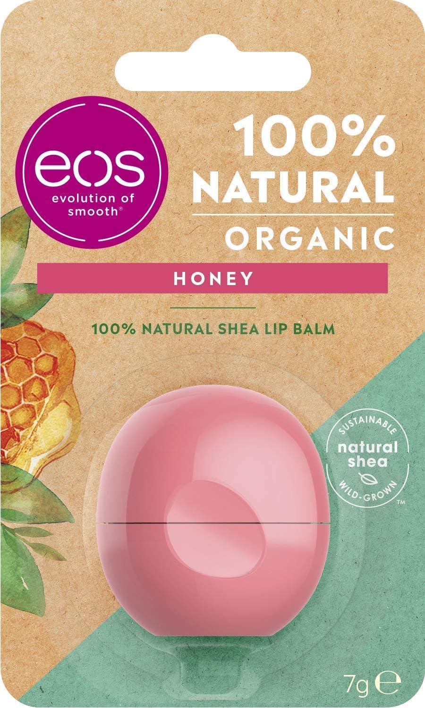 EOS Organic Honey Lip Bálsamo Labial Hidratante con miel suave para labios suaves con manteca de karité natural 7g: Amazon.es: Belleza