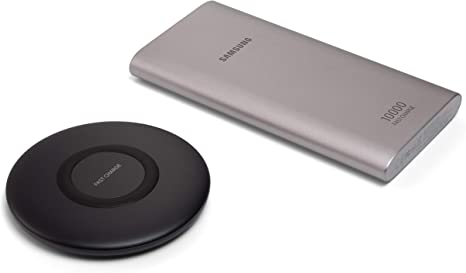 Samsung Original Power Up Bundle with QI Wireless Charger Pad and Ultra 10,000 mAH Power Bank, Fast Charging for QI Enabled Devices Compatibility