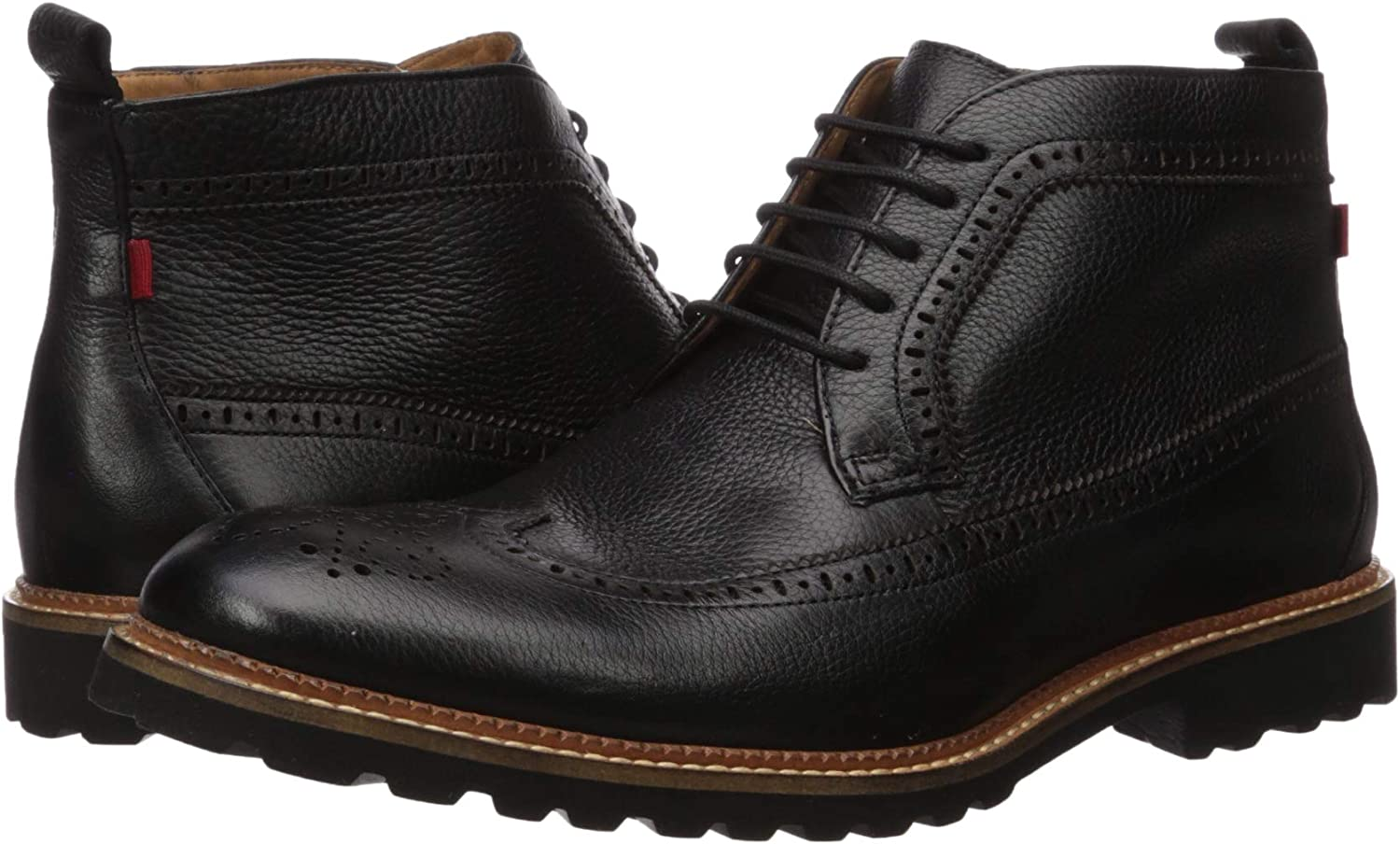 MARC JOSEPH NEW YORK Mens Leather Extra Lightweight Ankle Boot with Wingtip Detail