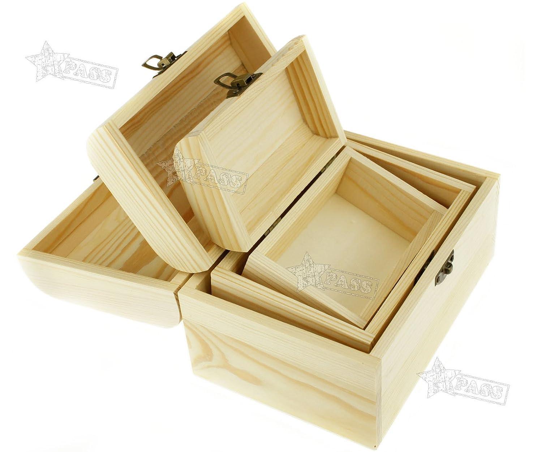 Generic e en el Pecho Joyero Craft Caso Je Caja Caja Rage K 3 Piezas de Madera Caja con Forma de Tesoro nket judío Pecho Trea de Madera Joyas Almacenamiento Oden