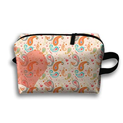 best Travel Bag Paisley Pattern Love Cosmetic Bags Brush Pouch Portable Makeup Bag Zipper Wallet Hangbag Pen Organizer Carry Case Wristlet Holder