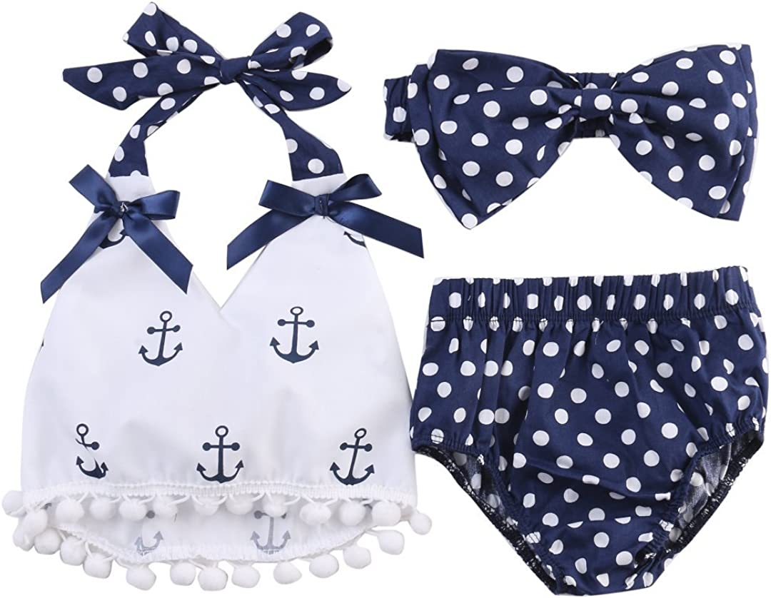 3Pcs Baby Girls Short Sleeve Lace Tops+Anchor Pants with Headband Outfits Set Sunsuit Clothes