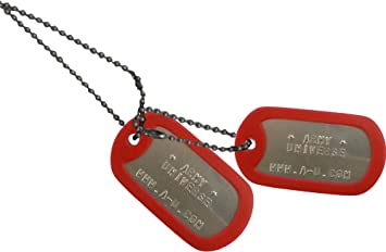 Amazon.com   Army Universe Matte Custom Embossed Stainless Steel Military  Style Dog Tag Set - Red Silencer   Pet Supplies 687ea91b8a10