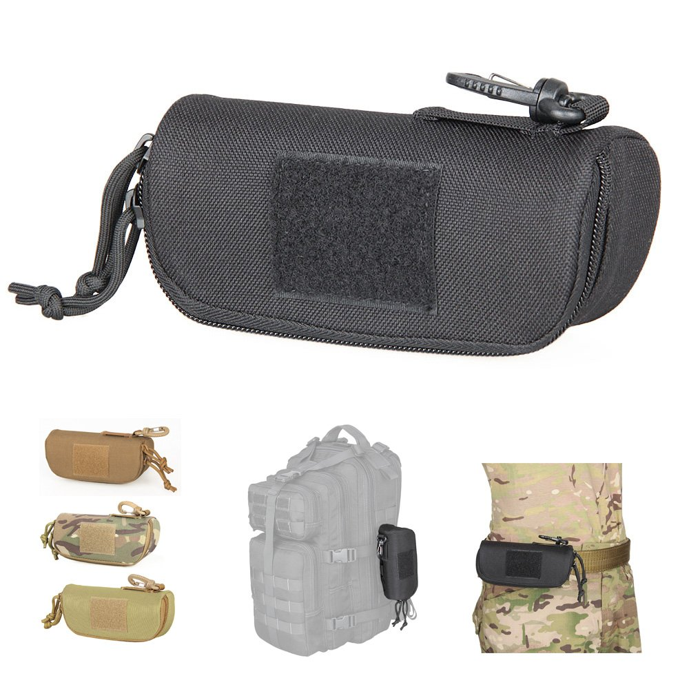 Tactical Molle Sunglasses Case 1000D Nylon Hard Clamshell Carry Glasses Case