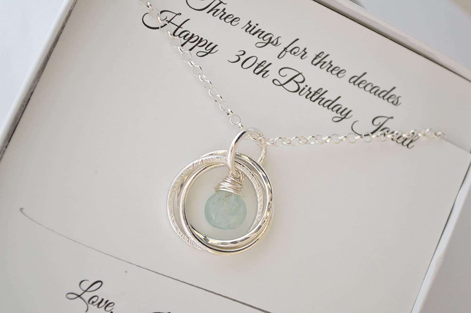30th Birthday Gift For Sister Aquamarine Birthstone Necklace 3 Sisters 3rd Anniversary Her Best Friend