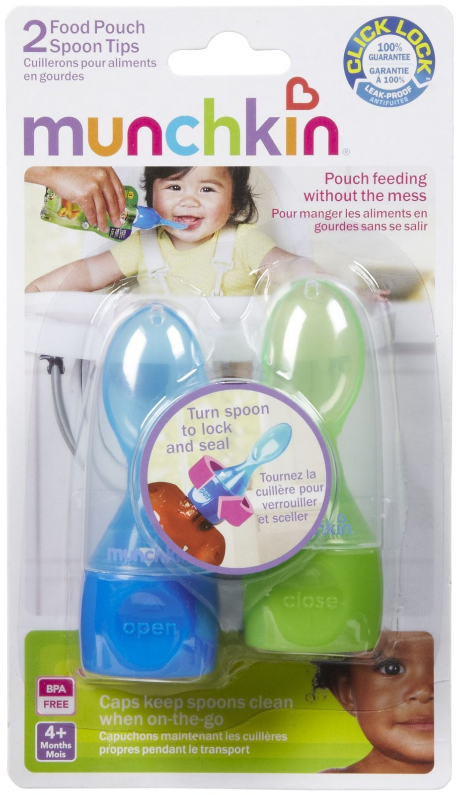 Munchkin Click Lock Food Pouch Spoon Tips - 2 Ea Colors May Vary by Munchkin