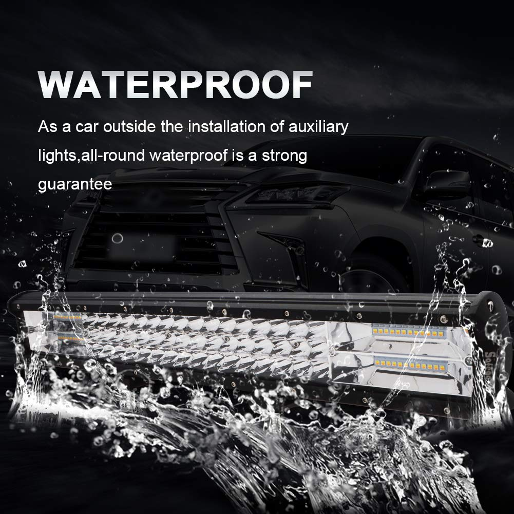 20LED Light Bar Safego Triple Row 288W 23000LM Waterproof Flood Spot Combo Beam Light Bar Super Bright Offroad Light Driving Fog Light for Pickup Truck J-eep ATV UTV SUV Boat Tractor