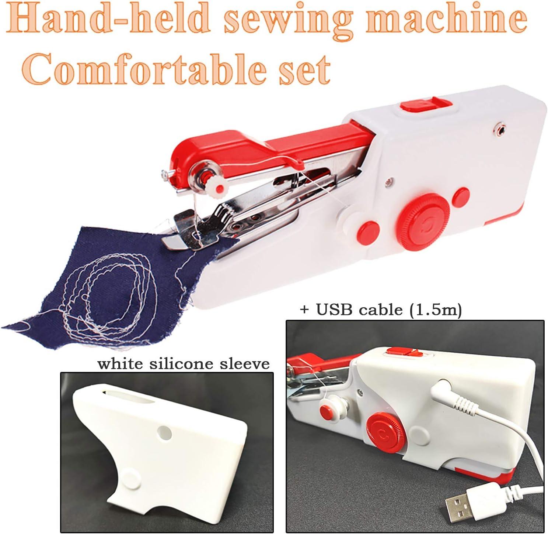 Black + Sewing kit TooFu Handheld Mini Electric Sewing Machine Portable Sewing Machine Set,Household Sewing Machine