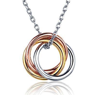 Billie Bijoux Argent sterling 925 Anneau russe amour infini Collier  pendentif cercle blanc plaqué or femmes a8bbd26299d6