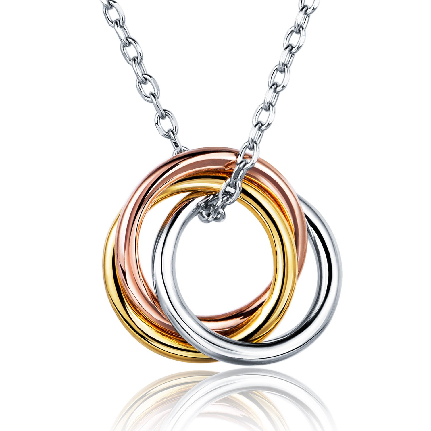 Billie Bijoux 925 Sterling Silver Russian Ring Infinity Love Circle Pendant Necklace White Gold Plated Women Necklace Best Gift 18''