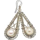 """Cultured Pearl, Perle Cultivée Argent Sterling 925 Boucles d'oreilles 2"""""""