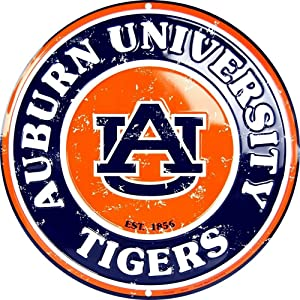 """Auburn Tigers Metal Sign University Sports Dorm Game Room Wall Decor Vintage Aluminum Metal Signs Tin Plaque Wall Art Poster for Garage Man Cave Beer Cafe Bar Pub Club Patio 12""""X12""""Round"""