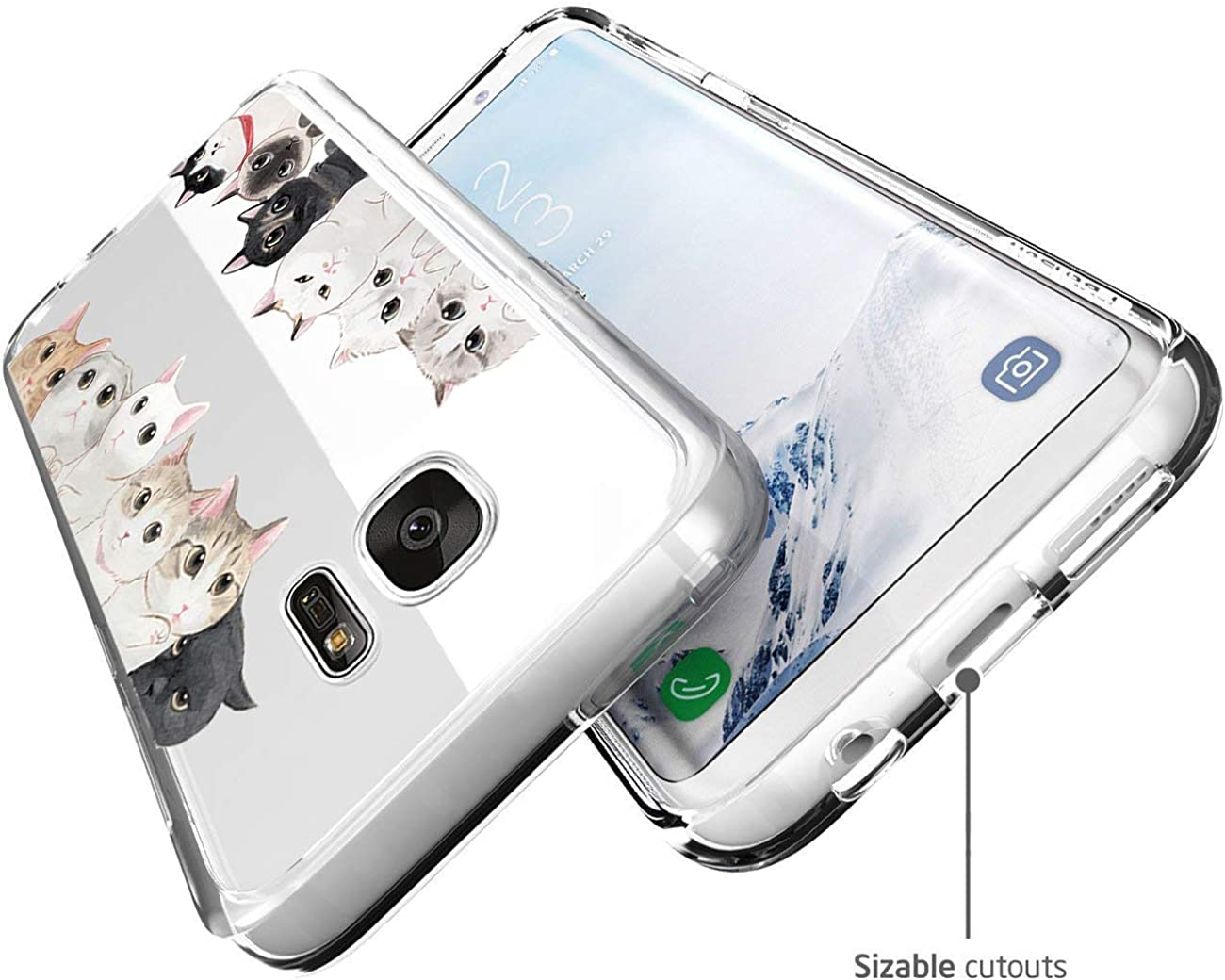 Support Wireless Charging Compatible with Samsung Galaxy S7 Case Clear Slim Protective Soft TPU Bumper Floral Pattern Cover