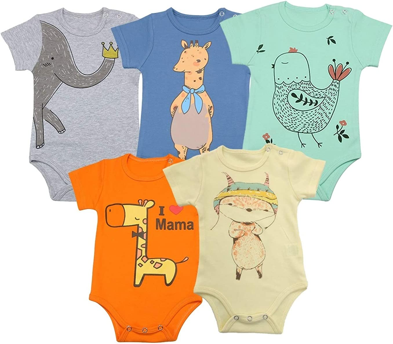 NEW Pack of 2 100/% Organic Cotton Babygrow 3-6 Months Short-Sleeve Baby Bodysuit