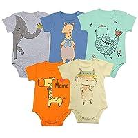 Unisex Baby Bodysuits | Baby Short Sleeve Bodysuits Onesies Bodysuit Short-Sleeve Bodysuits%100 Organic Cotton 5-Pack