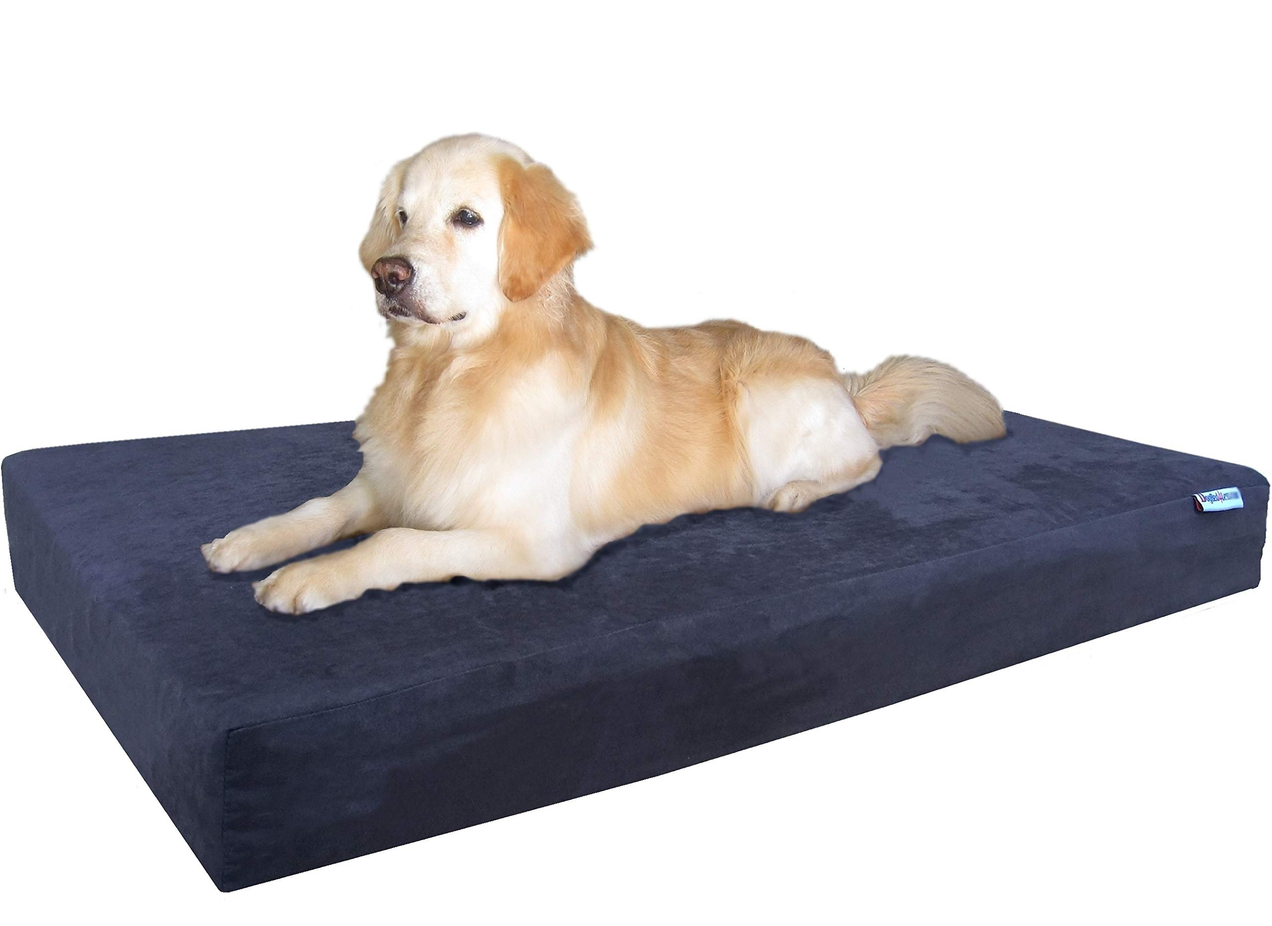 Dogbed4less Jumbo Extra Large Gel Infused Memory Foam Dog Bed with Microsuede Cover and Waterproof Liner, 55X37X8 Inches, Espresso