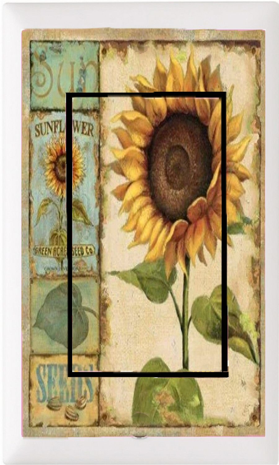GYC2 COUNTRY SUN FLOWERS PRIMITIVE HOME DECOR LIGHT SWITCH COVER PLATE OR OUTLET (1X ROCKER)