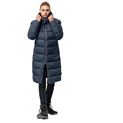 81a97349fe0 Jack Wolfskin Women's Crystal Palace Down Puffer Long Jacket, Midnight  Blue, X-Small