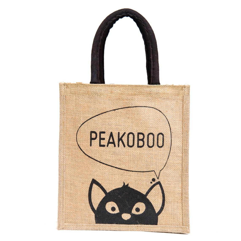 20afccf7af11 H B Unisex Peekaboo Printed Jute Bag (Black