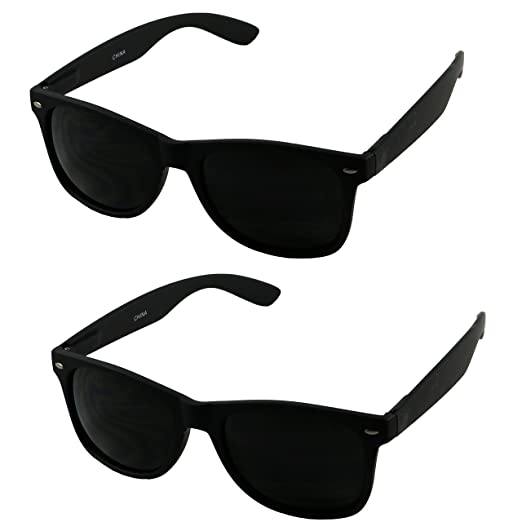 89ef5f8101 Amazon.com  Basik Eyewear - Super Extremely Dark Black Retro Round Classic  80 s Sunglasses 1 or 2 Pairs (Glossy 2 Pack Deal