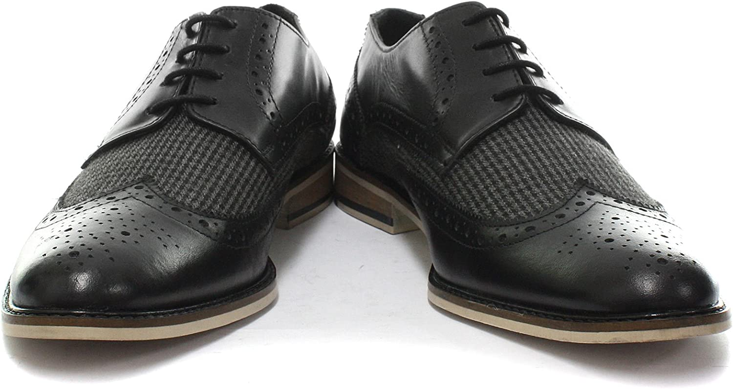 Roamers Mens Leather and Textile 4 Eye Wing Cap Gibson Brogues