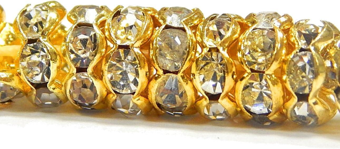 Juego de 50 Perlas de Cristal de 8 mm chapadas en Oro con Piedras Brillantes R35
