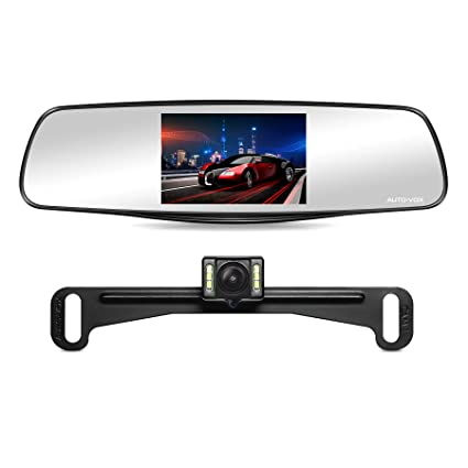 "auto-vox m3 dual lens dash cam 5"" lcd full hd 1080p rearview mirror dash  cam and ip 68 waterproof car reverse license plate backup camera with led  superior"