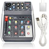 Phenyx Pro USB Audio Interface Mixer, 4-Channel, 3-Band EQ, Echo Effects, Audio Mixer with Interface to PC for Music…