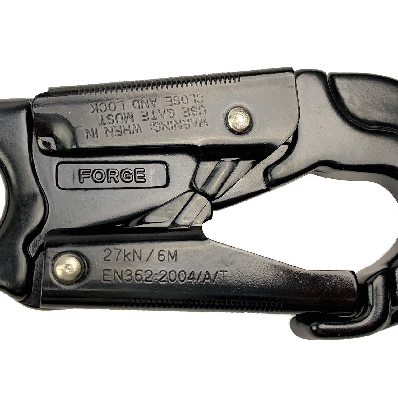 ProClimb Forged Aluminum Snaphook Blue Double Action Self Locking Gate Captive Eye 23 kN