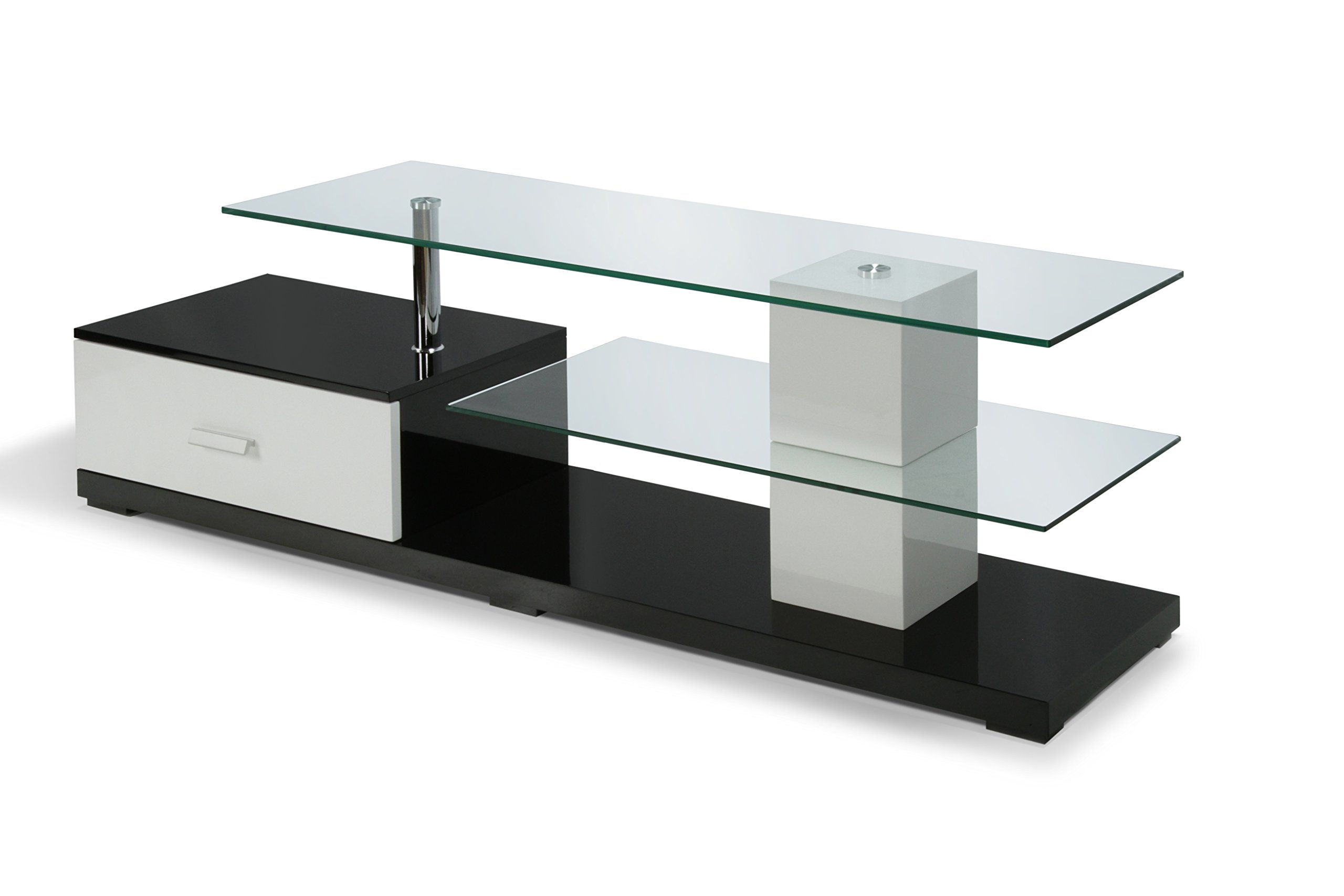 Furniture of America Flynn Contemporary TV Console with Storage Drawer, 63-Inch, Glossy Black and White by Furniture of America