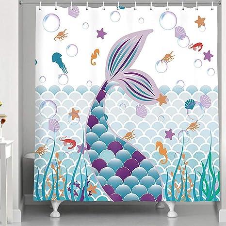 cute mermaid shower curtain underwater ocean sea world colorful tail seashell starfish decor fabric bath curtains funny kids cartoon shower curtains
