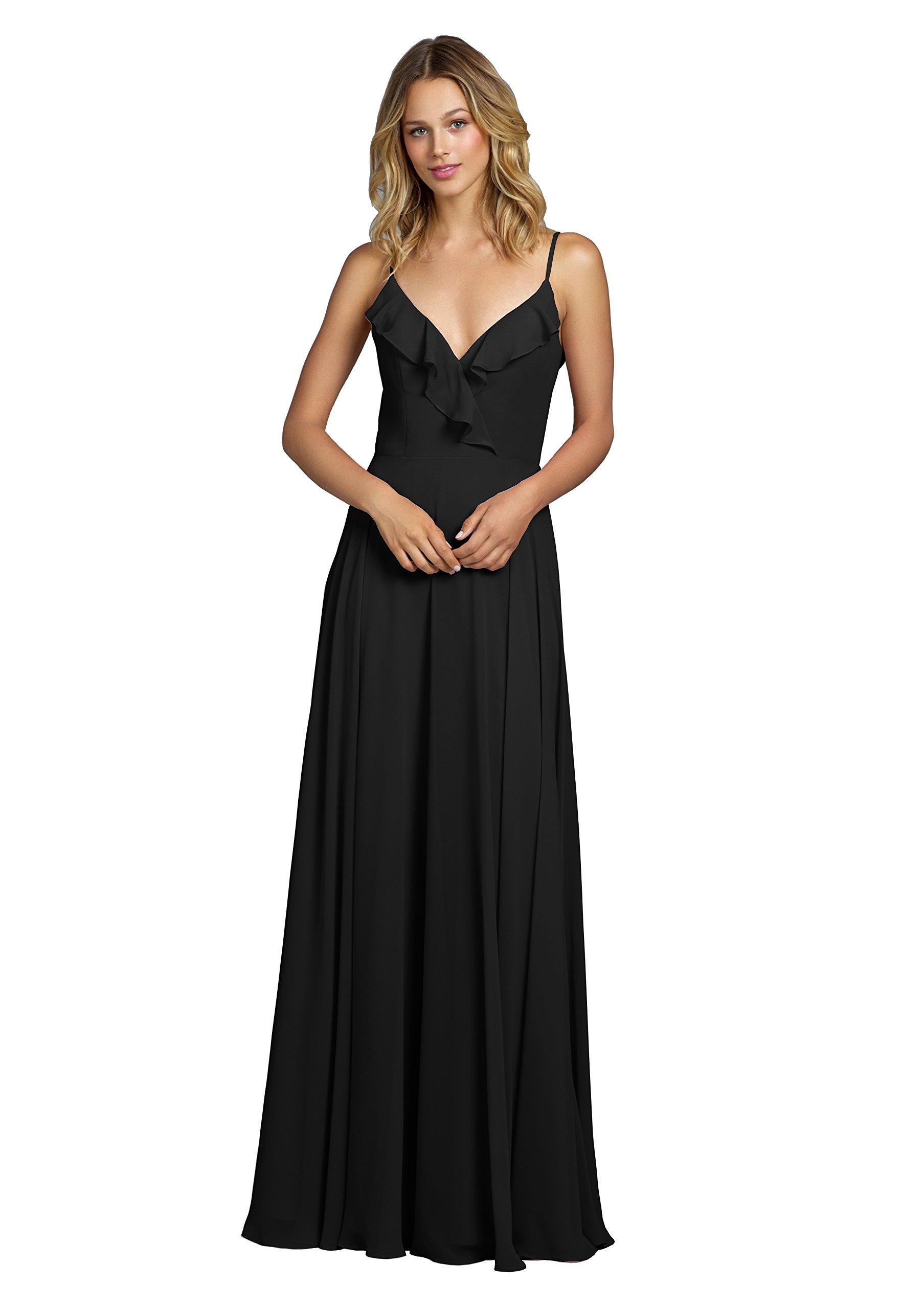 YORFORMALS V-Neck Chiffon Plus Size Evening Dress Long Ruffle Neckline  Formal Party Gown Size 28 Black