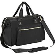 Diaper Bag, RUVALINO Large Diaper Tote Stylish for Mom and Dad Convertible Travel Baby Bag for Boys and Girls with Changing Pad, Insulated Pockets (Black)