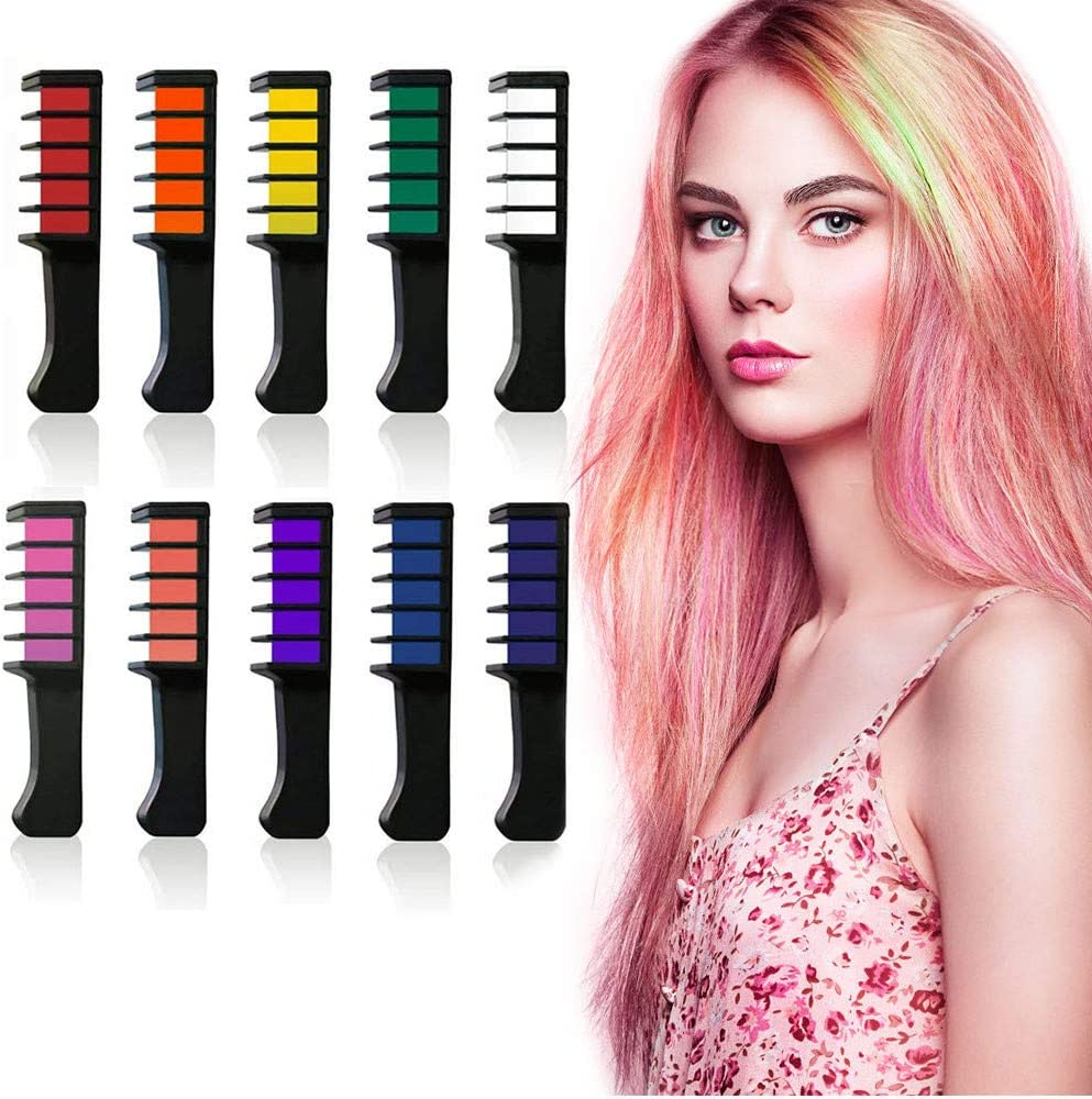 Peignes Craie Cheveux pour Cheveux Temporaires 10 Couleurs et Tatouage Paillette