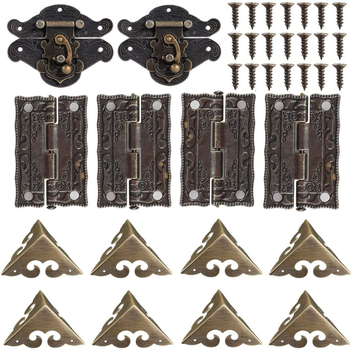 2 Sets Wood Case Chest Box Hasp Latch Lock Retro Decorative Hinges and Box Corner Protectors with Screws Jewelry Box Hardware
