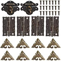 2 Sets Wood Case Chest Box Hasp Latch Lock Retro Decorative Hinges and Box Corner Protectors with Screws Jewelry Box…