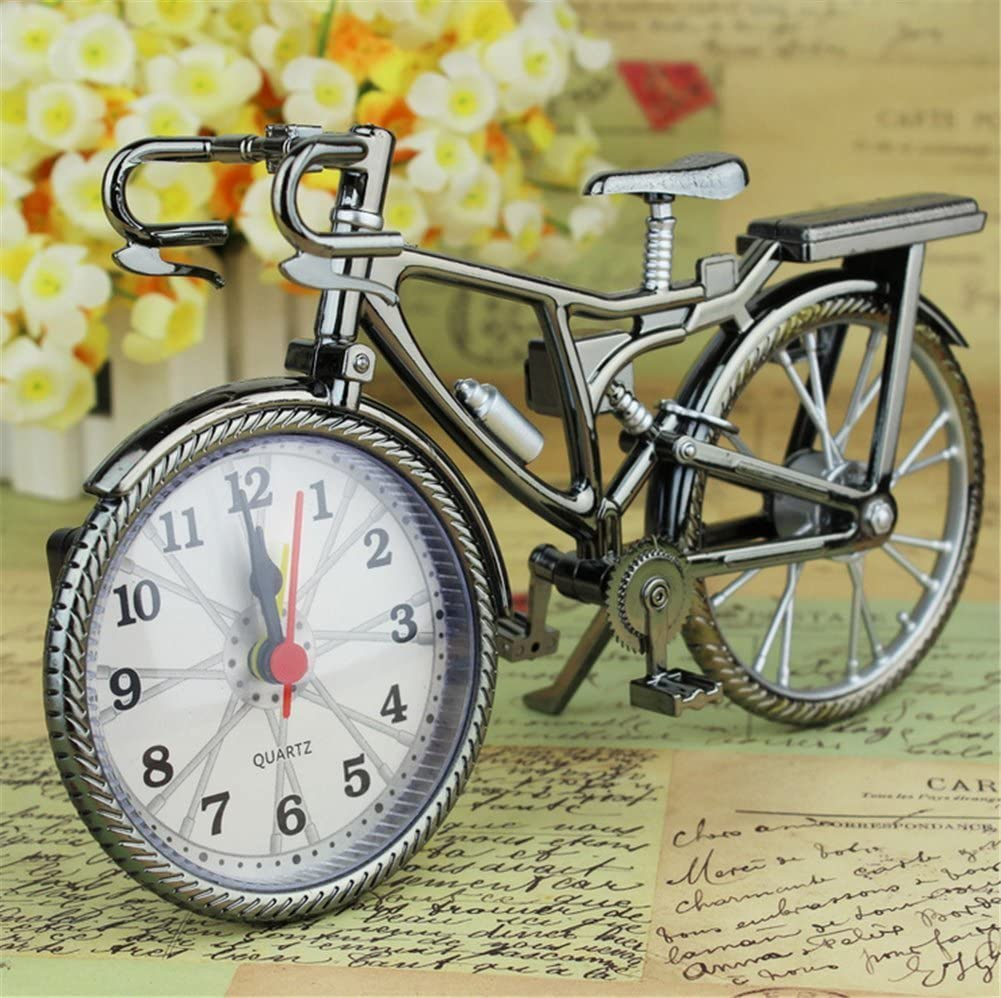FinerMe Vintage Mini Motorcycle/Bicycle Model Alarm Clock Battery Powered Desk Shelf Clock Creative (Bicycle Model)