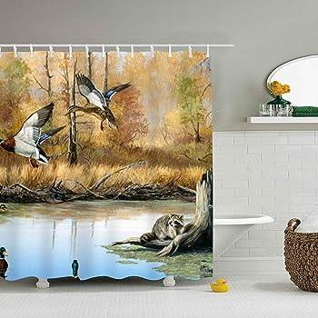 WANL Duck Hunting Print Mildew Resistant Fabric Shower Curtain Water Repellent Antibacterial