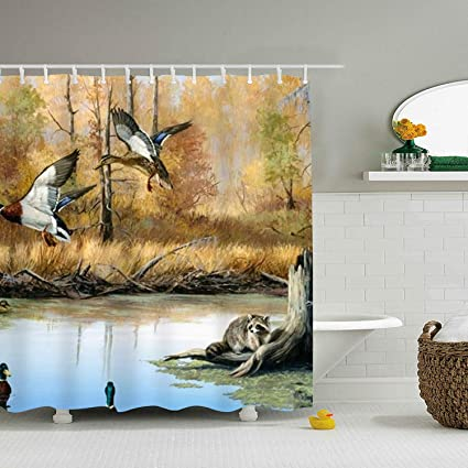 Image Unavailable Not Available For Color WANL Duck Hunting Print Shower Curtain