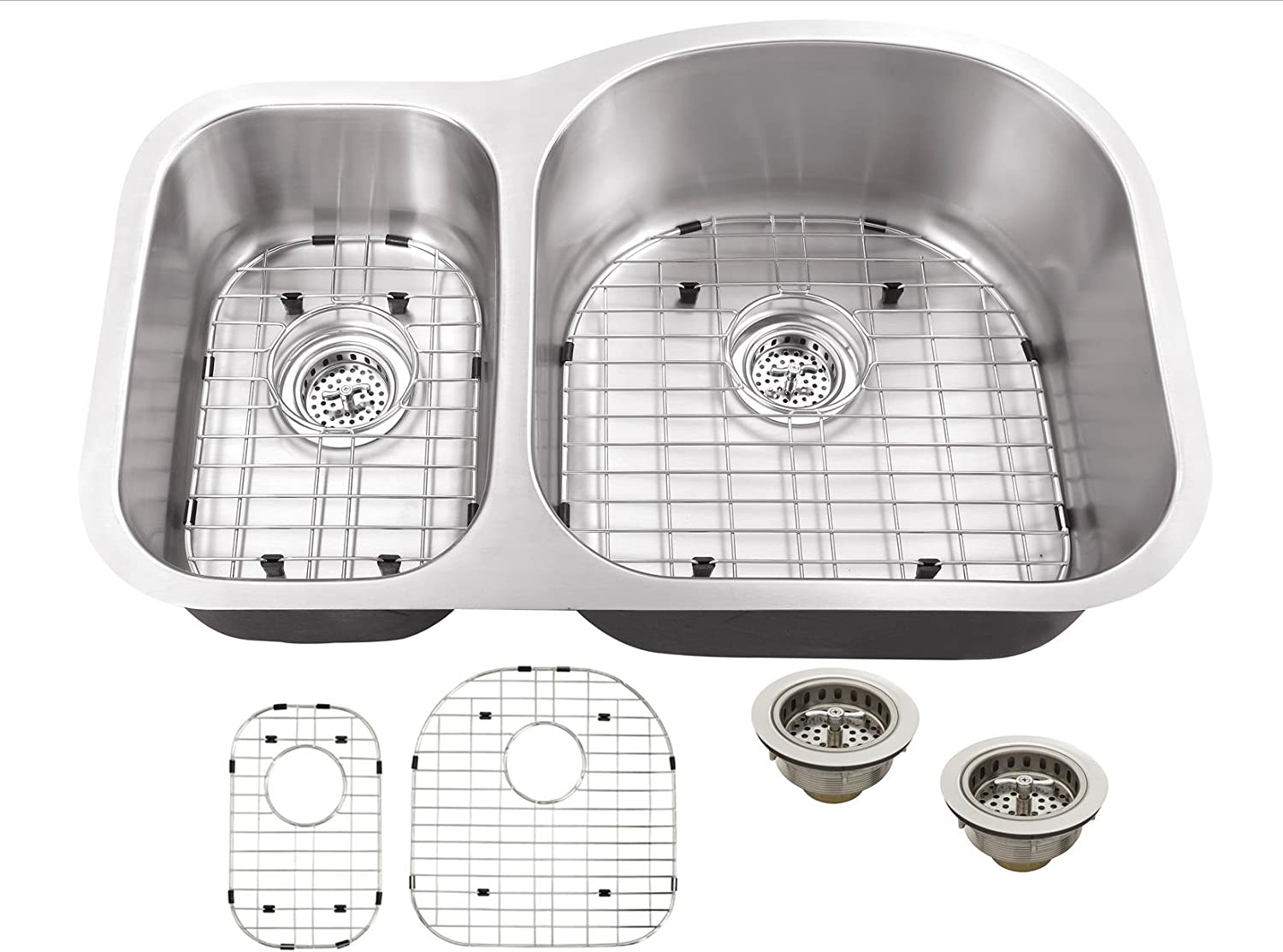 MSLX3070P 16-Gauge 32-in x 20 3 4-in x 9-in Stainless Steel 30 70 Offset Double Bowl Kitchen Sink with Grid Set and Strainers