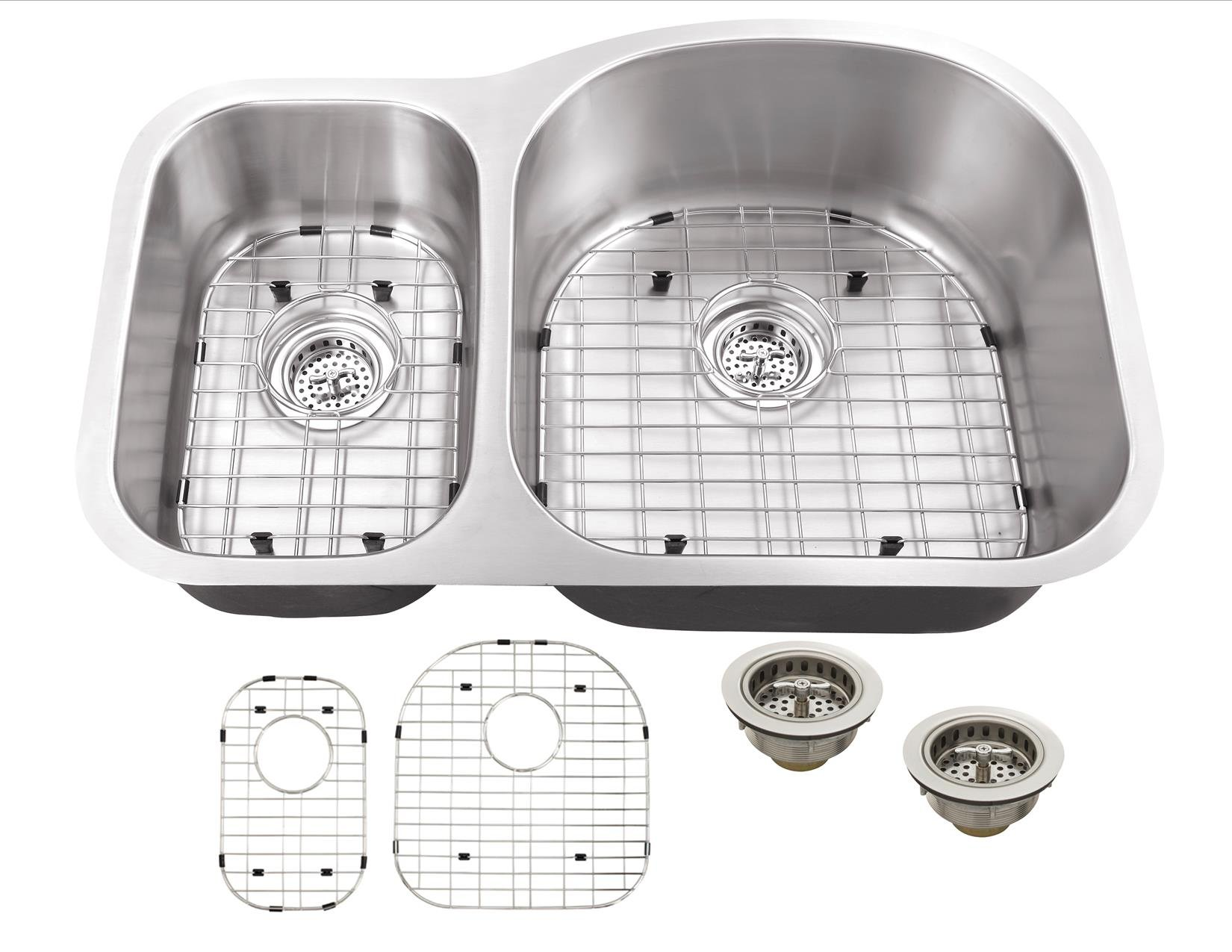 MS3070P 18-Gauge 32-in x 20 3/4-in x 9-in Stainless Steel 30/70 Offset Double Bowl Kitchen Sink with Grid Set and Strainers
